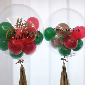 13pcs/set mixed 18inch bubble balloons set Christmas globos 5inch red green Chrome gold ballons indoor Christmas party decors