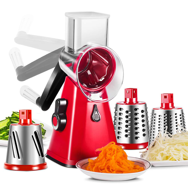 Multi function hand roller cutter rotary grater manual cutting machine vegetable spiral potato mandoline slicer kitchen toolsShredders & Slicers   -