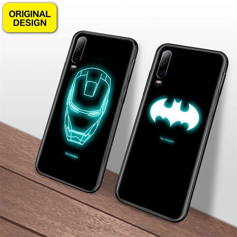 Marvel Avengers Luminous Tempered Glass Case for huawei P30 Pro Mate20 pro Coque Batman Super Spider Iron Man Venom Phone Cover