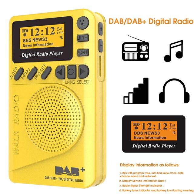 מיני כיס דיגיטלי DAB רדיו FM מקלט RDS נייד MP3 נגן עם LCD תצוגת מסך תמיכה TF כרטיס שינה זמן סט