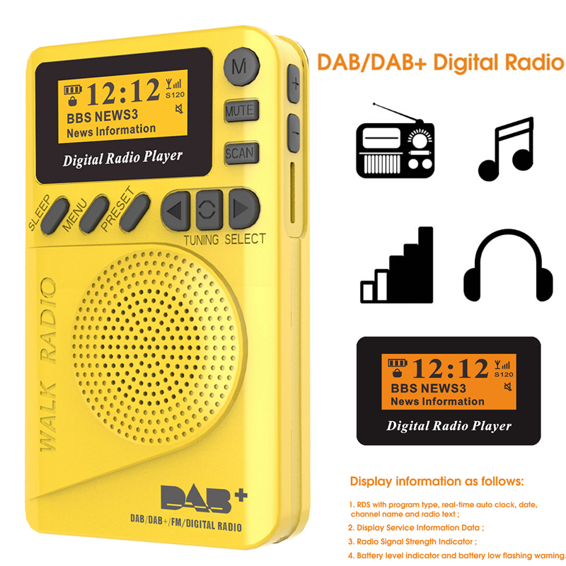 Mini Pocket DAB Digital Radio FM Receiver RDS Portable MP3 Player With LCD Display Screen Support TF Card Sleeping Time Set