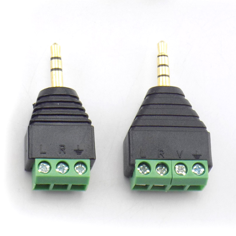 3.5mm 3 Pole 4 Pole Male Connector Earphone Adapter Audio AUX  Solderless Terminal Jack Stereo Plug DIY Headphone To 3pin 4pin