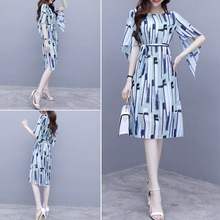 Spring and summer new style Temperament chiffon dress Korean version of the long section was thin waist stripe print dress 2019 spring new fat mm large size women s korean version of the wild was thin in the long section was thin double breasted vest