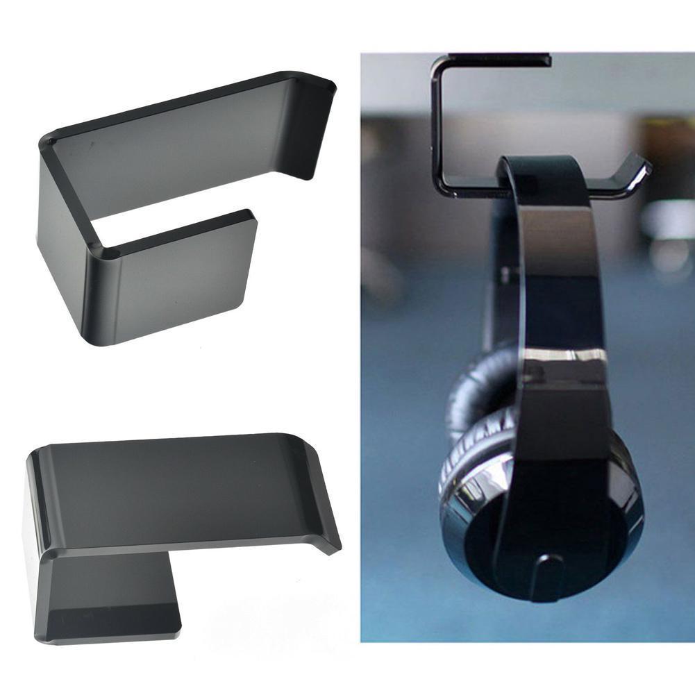 1PC Sticker Acrylic Headphone Bracket Hanger Under Display Mounted Sticky Earphone Desk Holder Black Hook Wall Headset New B7G5