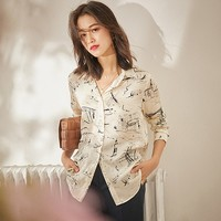 100% Silk Blouse Women Shirt Sketch Printed Turn down Collar Long Sleeves Simple Design Casual Top Vintage Style New Fashion