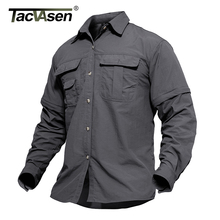 TACVASEN Mens Military Clothing Lightweight Army Shirt Quick Dry Tactical Shirt Summer Removable Long Sleeve Work Hunt Shirts