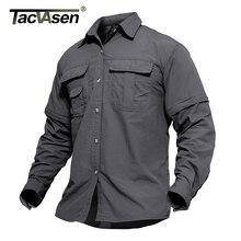 TACVASEN erkek askeri giyim hafif ordu gömlek hızlı kuru taktik gömlek yaz çıkarılabilir uzun kollu iş avı gömlek