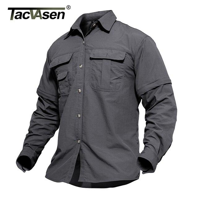 TACVASEN גברים של בגדים צבאיים קל צבא חולצה מהיר יבש טקטי חולצה קיץ נשלף ארוך שרוול עבודה האנט חולצות