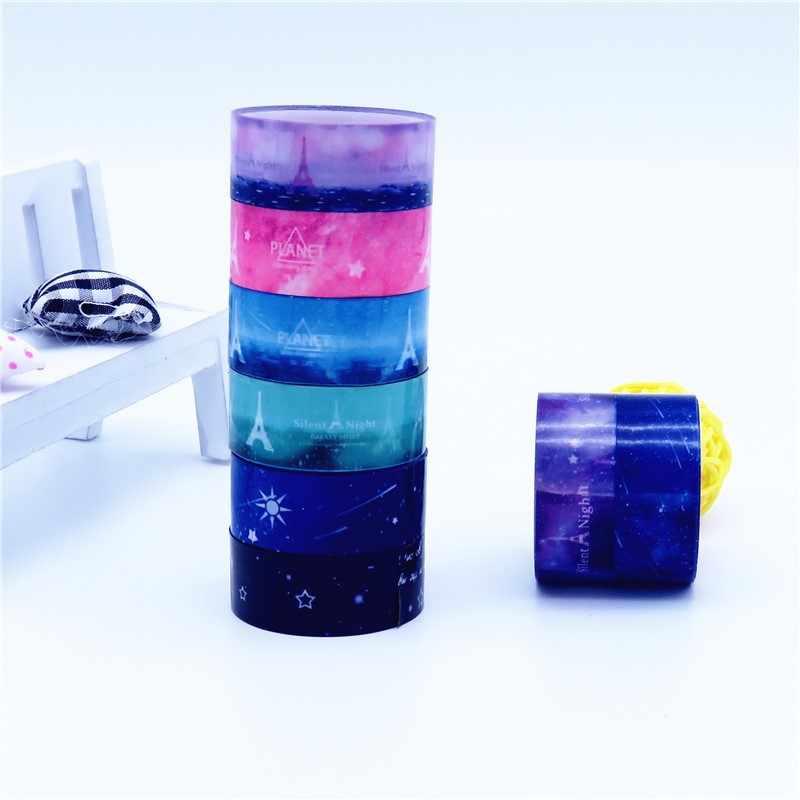3 Pcs 2M * 1.5 Cm Sky Tower Washi Tape Kertas DIY Perencana Masking Tape Perekat Stiker Dekoratif alat Tulis Tape