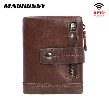 Soft Genuine Leather Wallet Men Wallets Casual Zipper Coin Purse With RFID Card Holder Hasp Cowhide Short Wallet For Male vintage rfid wallets 100% genuine leather men short wallet for cards male coin purse card holder pocket double zipper design