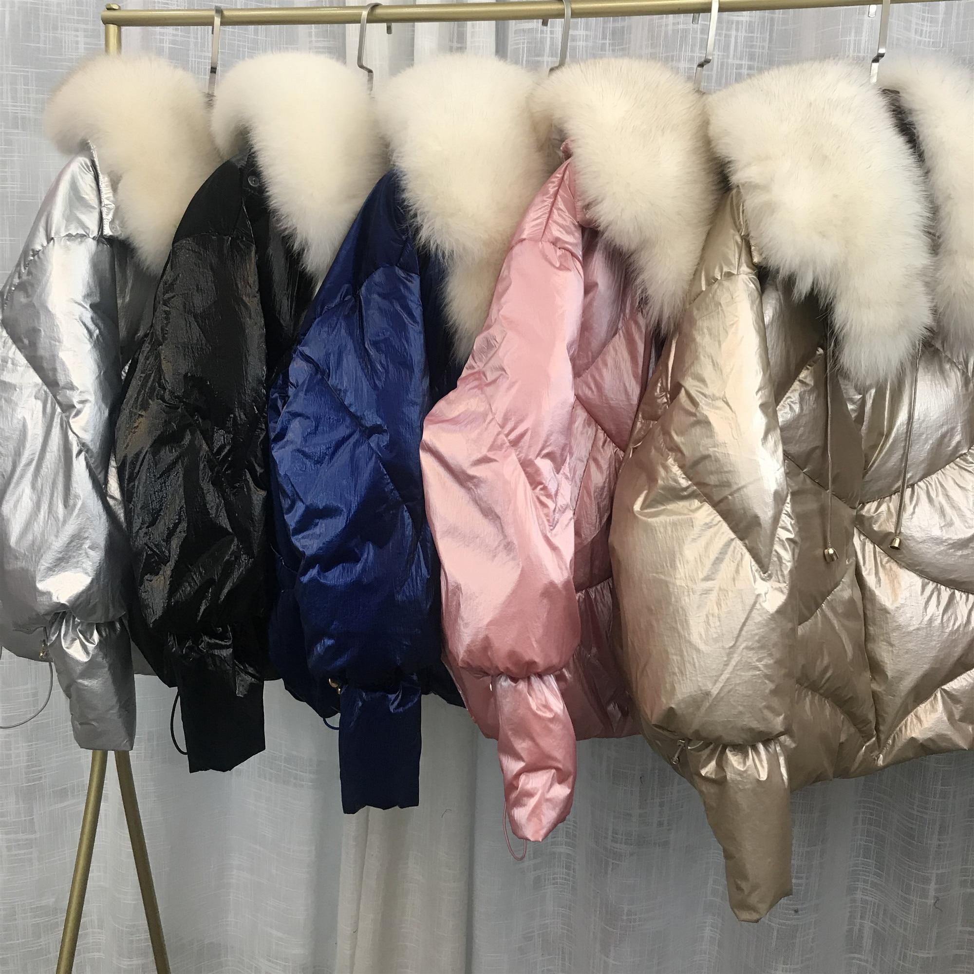 Natural Fox Fur Collar Oversize   Coats   2019 Winter Women's Loose Short   Down     Coat   White Duck   Down   Jacket Thick Warm Parka