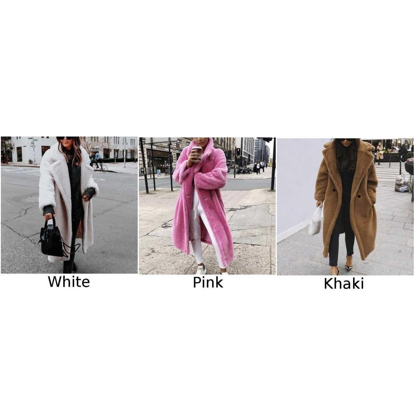 Femmes veste automne mode ample chaud polaire à manches longues revers boucle solide dames manteau grande taille