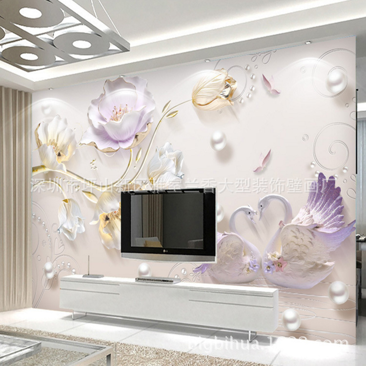 8D Stereo New Chinese Style Jewelry Relief Peacock Tulip Background Of Television In The Drawing Room Wallpaper Waterproof Wall