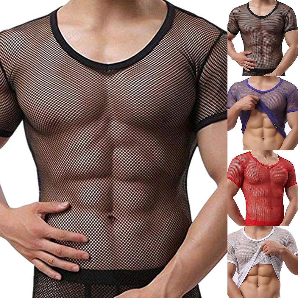 Sexy Men T-shirt Mesh See Through T-Shirt Fishnet Clubwear Short Sleeve Top Undershirt Camiseta Masculina футболки мужские