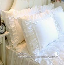 Princess Pure White Double Layer Lace Flounced Cotton Wedding Pure Cotton Bedding Pillowcase pillow cover