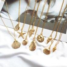 цена HOCOLE Fashion Gold Color Alloy Cowrie Shell Necklace For Women Charm Chain Conch Pendant Necklaces Boho Summer Beach Jewelry в интернет-магазинах