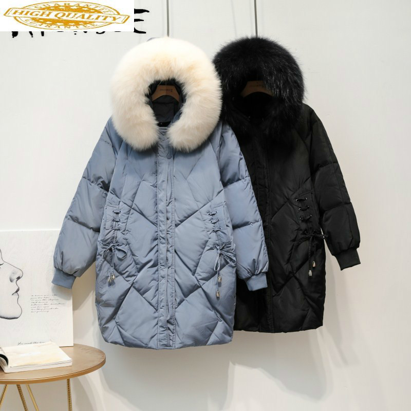 Winter Coat Women Parka 90% White Duck Down Jacket Women Puffer Jacket Fox Fur Collar Down Coat Warm Casaco 1933 YY1420