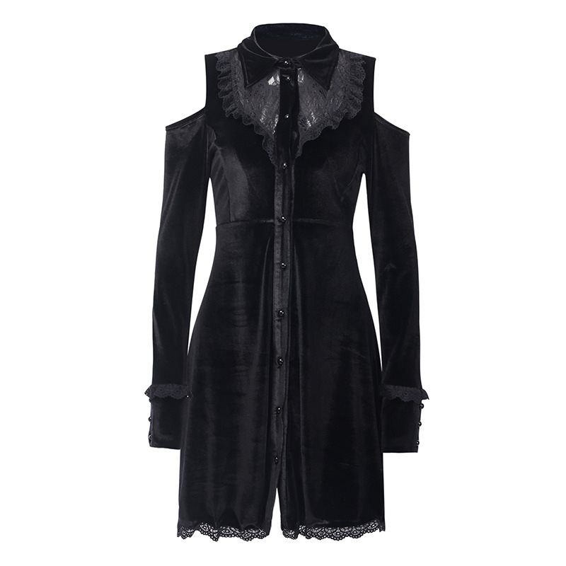 Rosetic Lolita Lace Dress Preppy A Line Mini Up Castle Gothic Elegant Chic Velvet Black Female Dresses