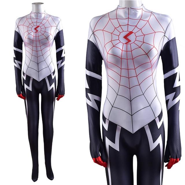 Amazing Women Cindy Moon Silk Cosplay Costume Superhero Zentai Bodysuit Suit Jumpsuits Halloween Costume for Girls