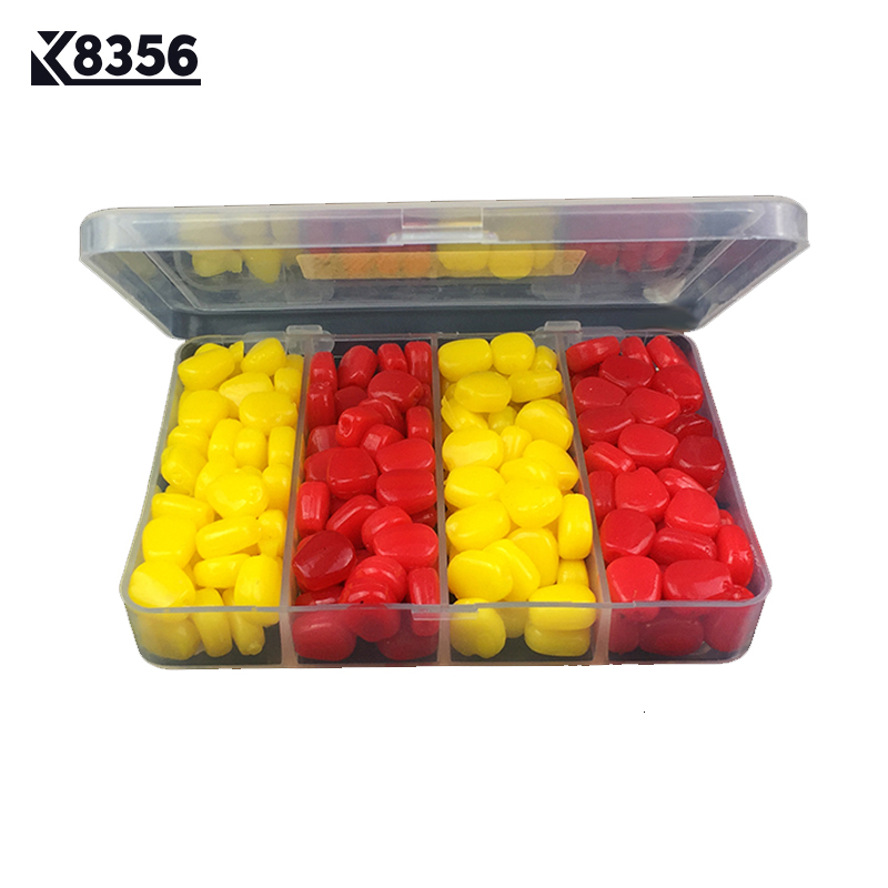 K8356 200Pcs/Lot 110g PVC Fishing Lures Emulational Corn Lure Set Artificial Bait Red Yellow Soft Baits Fishing Tackle
