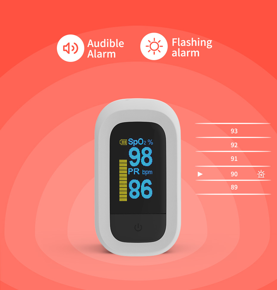 YONGROW Medical Fingertip Pulse with Sound and Light Alarm and OLED Display 21