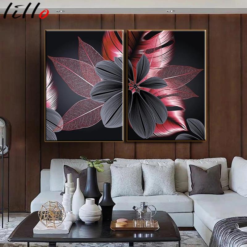Preto vermelho planta folha de lona cartaz impressão moderna decoração da casa abstrata pintura da arte da parede nordic sala estar decoração imagem