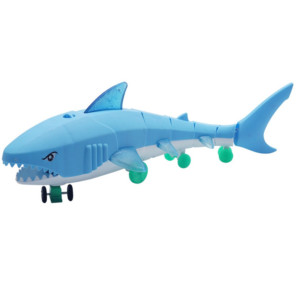 Kids Shark Glow Toy Leash Electric Light Music LED Toys Drawstring Electric Glow Shark Leash Lighting Plastic Toy