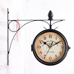 Żelazny czarny zegar ścienny dwustronny uchwyt zewnętrzny zegar Home Decoration