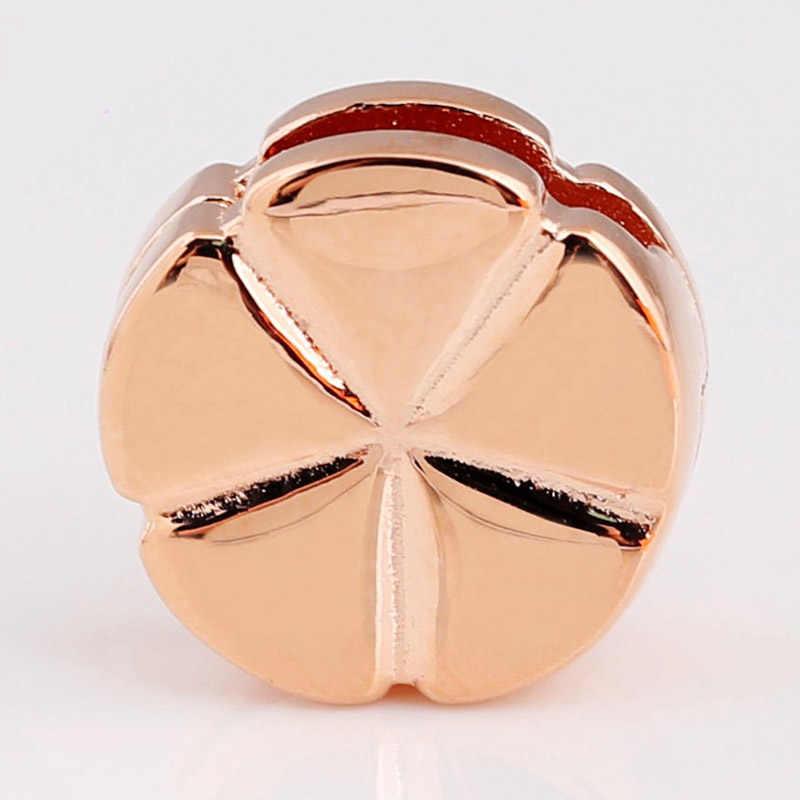 Original Rosa reflexiones clásico flor Clip tapón cierre cuentas ajuste cuenta en plata esterlina 925 encanto Pandora pulsera Diy joyería