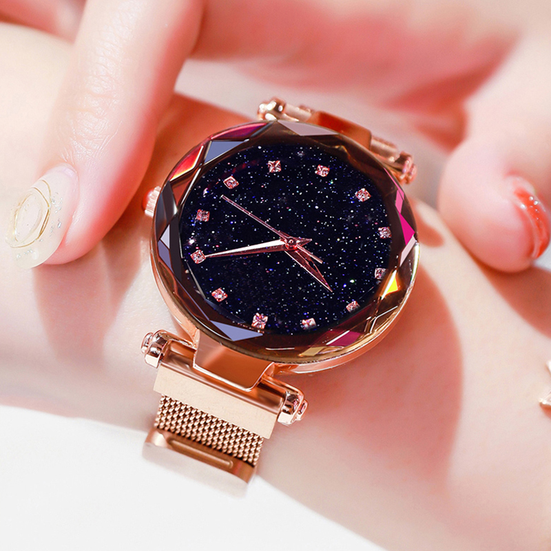 Top Brand Watch For Women Rose Gold Mesh Magnet Starry Quartz Wristwatch Geometric Surface Women Gradient Watch Reloj Mujer 2019