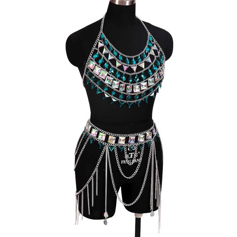 พู่โซ่โลหะชุดกระโปรงคริสตัลเซ็กซี่ Bra Slave Harness Body Chain สร้อยคอผู้หญิง Choker บิกินี่ Punk Goth Rave เครื่องประดับ