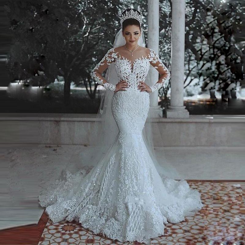 Wuzhiyi Mermaid Wedding Dress 2019 Customise Vestido De Noiva Cap Sleeves Zipper Back Marriage Dress Appliques  Robe De Mariee