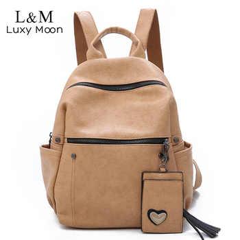 Women Leather Backpack Teenage Girls School Bag Female Vintage Large Solid Soft Backpacks Mochila Black Back Pack Bags New XA86H - DISCOUNT ITEM  46% OFF All Category
