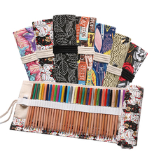 Canvas 72 Holes Pencil Case School Supplies Art Pen Bag Pouch Student Pen Wrap Roll Makeup Cosmetic Brush Pen Storage Stationery цена