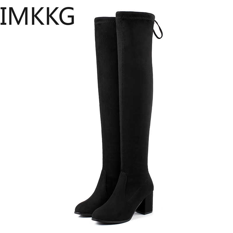 Sexy Slim Fit Elastic Flock Over The Knee Boots Women shoes 2019 Autumn Winter ladies high heel Long Thigh High botas