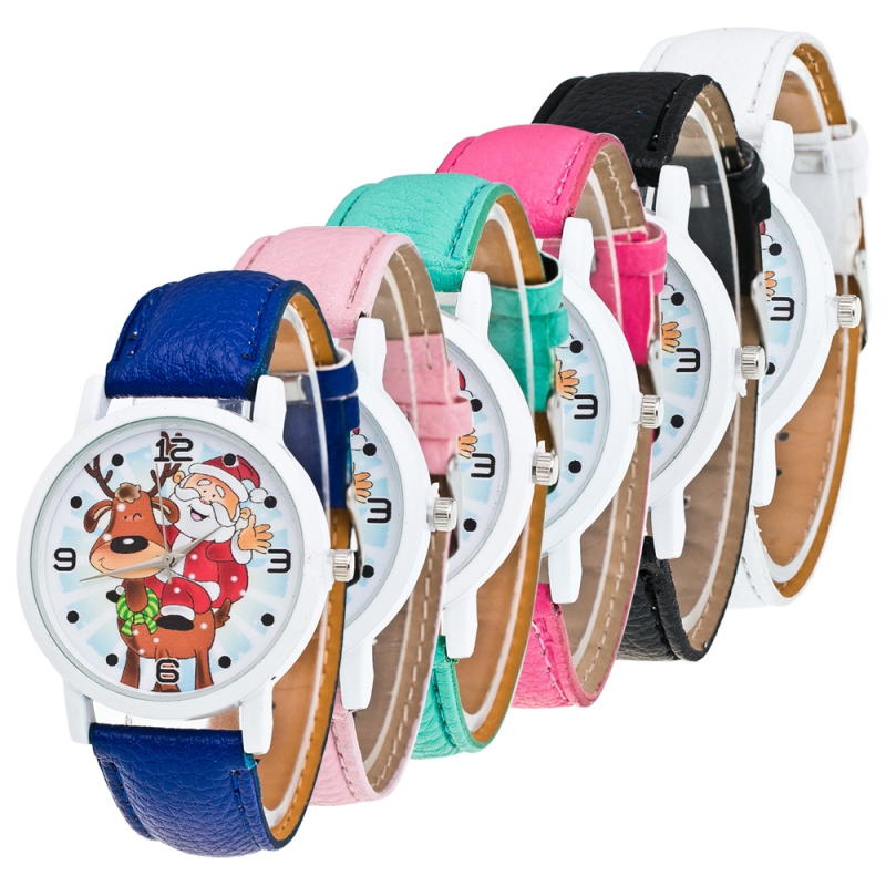 Christmas Ornaments Cartoon Pattern Leather Band Simulate Quartz Watches Xmas Gift For Kids