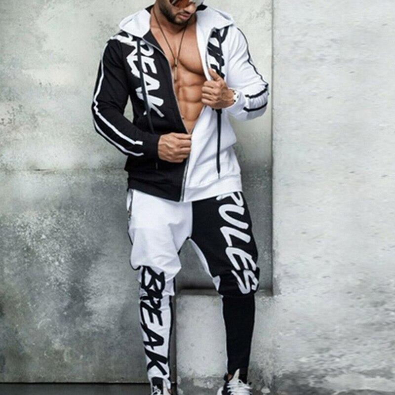 Hip Hop Ropa Hombre Set Slim Casual Tracksuit Men Zipper Jacket + Pencil Pants 2 Pieces Mens Clothing Streetwear Sport Men Sets