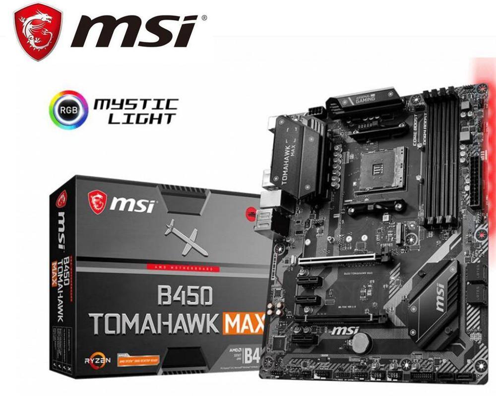 New MSI Motherboard B450 Tomahawk Max Amd Ryzen 3rd Cpu Am4 Gaming M.2 USB 3.1 4xDDR4 Crossfire ATX B450 Brand Mainboard