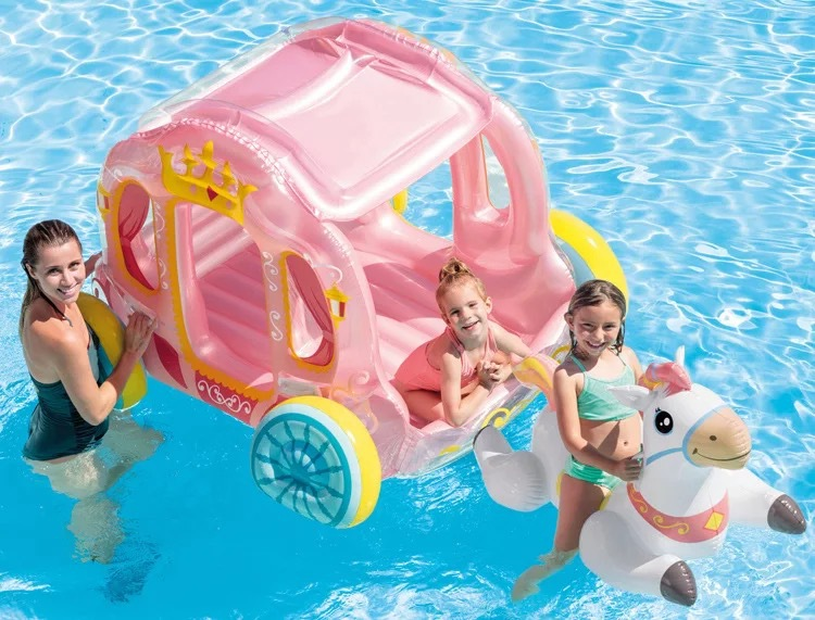 INTEX Floating Bed Princess Carriage Toy House Children's Charging Toys Water Inflatable Mounts