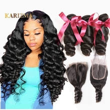Karizma Bundles Hair-Weave Closure Lace Loose Wave Non-Remy Brazilian 100%Human-Hair