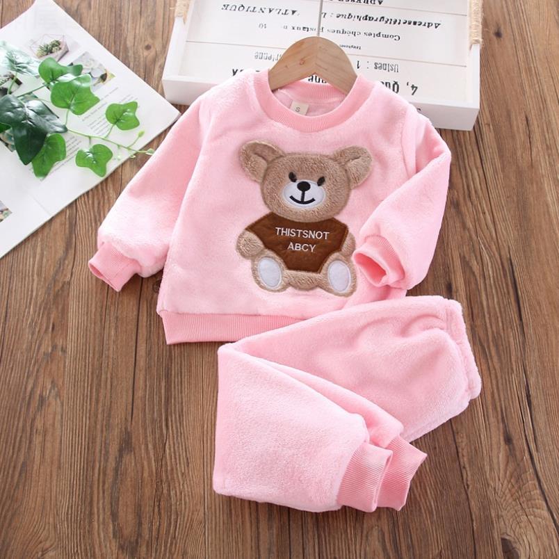 New Autumn Winter Baby Clothes Pajamas Sets Girls Pajamas Children Warm Flannel Fleece Catoon Bear Kids Sleepwear Home Suit 1-6Y 4