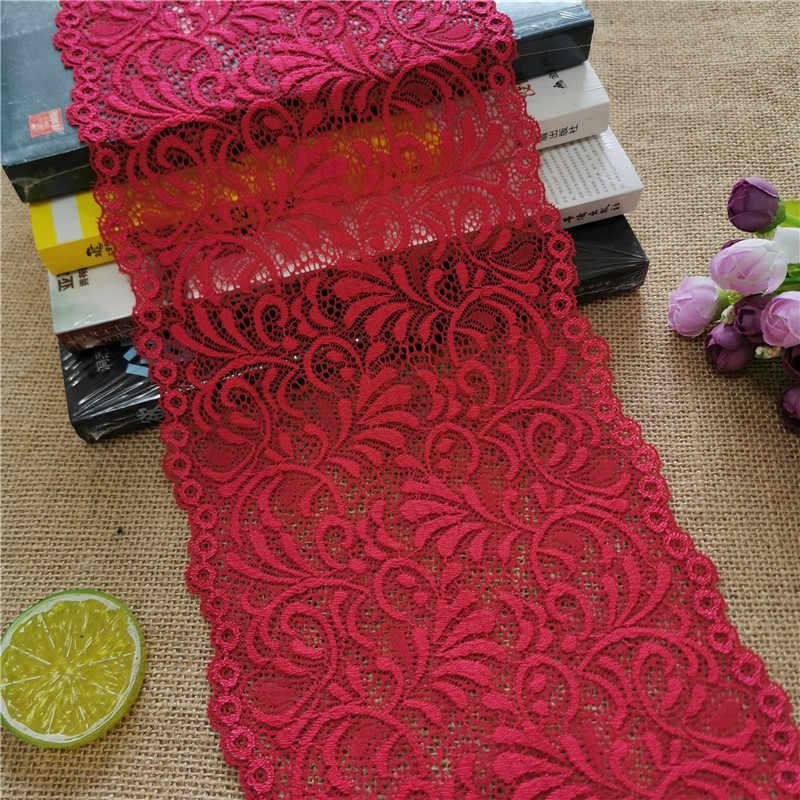 E2801 * 18.5 cm laço elástico fita da tela do laço para o casamento da tela decoração elástica do laço branco grande borda