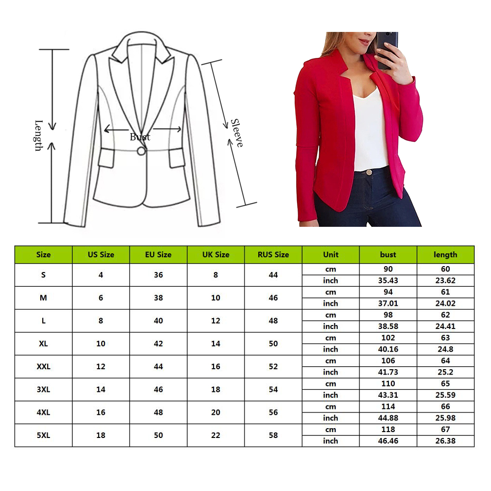OEAK 2019 New Women Jackets Fashion Brand Office Lady Blazers Femme Solid Color Long-sleeved Coat Ladies Slim Coat Top Mujer