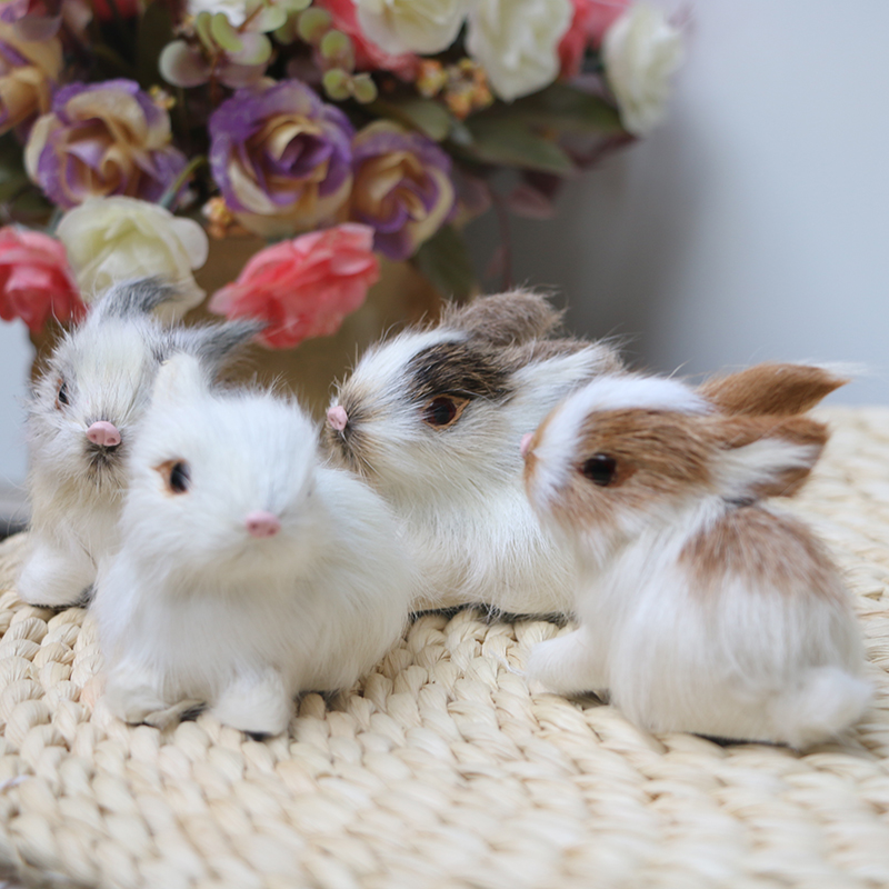 1pc Plush Toy Simulation Bunny Kitten Leather Fur Making Cute Simulation Animal Children Gift Home Decoration