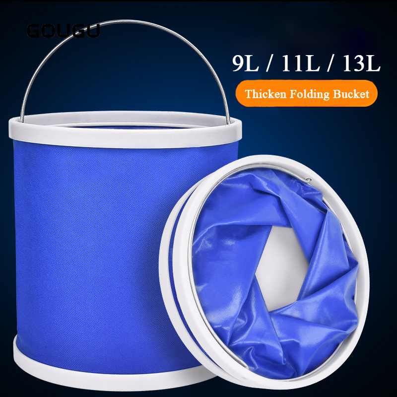 9/11/13L Portable Folding Bucket Outdoor Camping Hiking Travelling Fishing Washing Tools Round Waterproof Kitchen Bucket