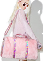 Winter new Sweet Girls Soft Rainbow Handbags Faux Fur women Tote Bags Large Capacity Laser Pink Shoulder Bags Travel Boston Bags