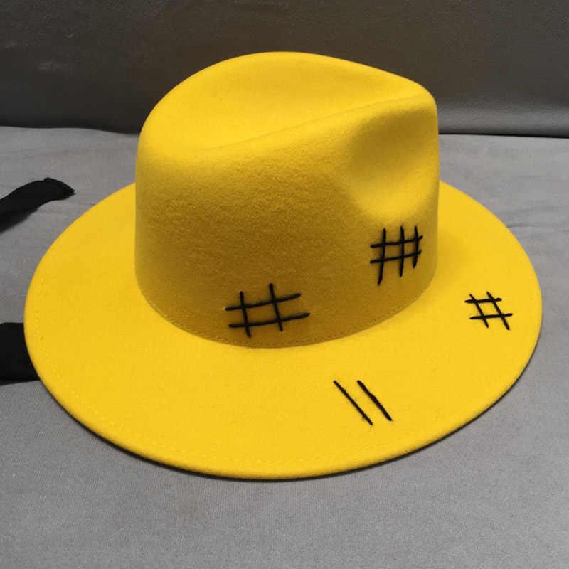Baru Fashion Kuning Wol Merasa Topi Topi Kasual Hitam Renda Musim Gugur Musim Dingin Topi Pria Wanita Merasa Porkling jazz Topi Fedora