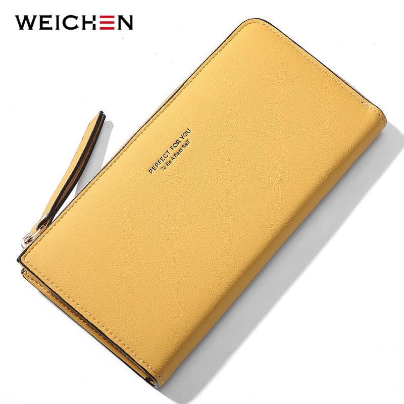 WEICHEN Long Zipper Wallet Women Brand Designer Clutch Purse Card Holder Carteras Cell Phone Portfel Female Wallets Ladies Purse