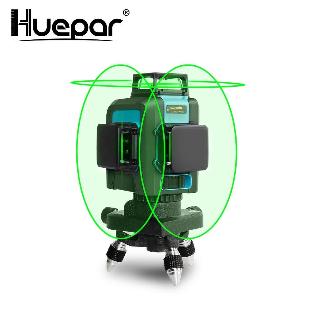 Huepar 12 Lines 3D Cross Line Laser Level Green Laser Beam Line with Li ion battery Self Leveling 360 Vertical & Horizontal|Laser Levels|   - AliExpress