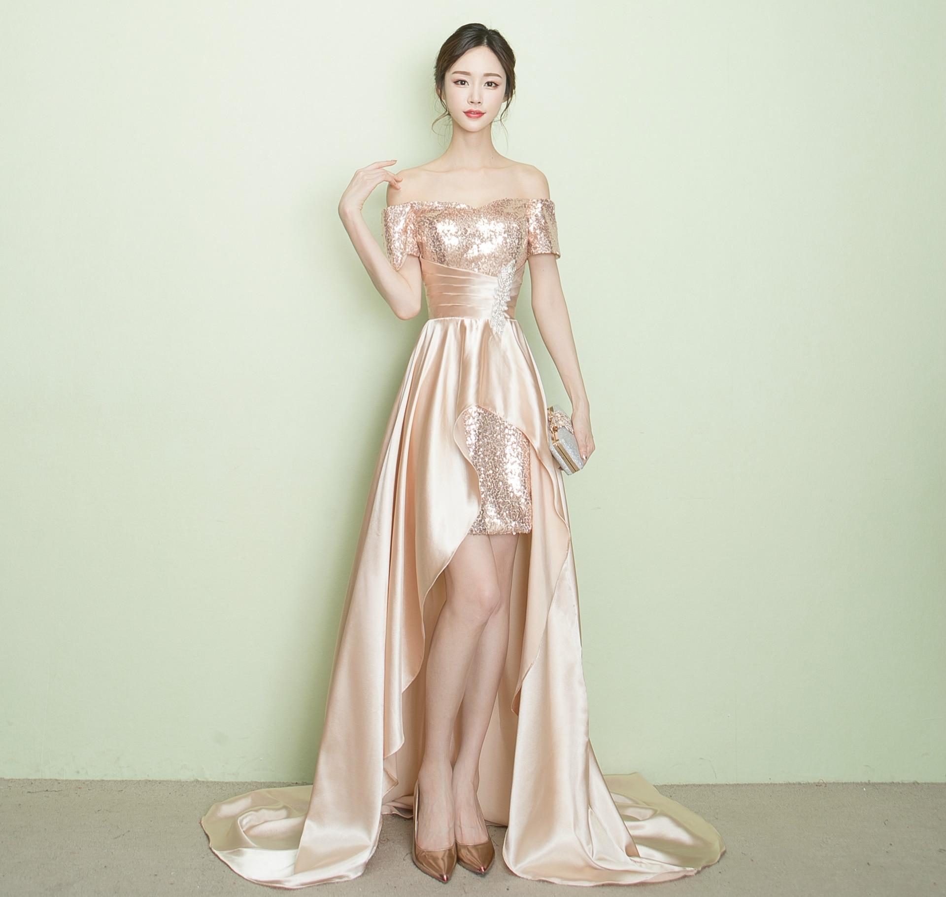 Hi-Low Sweetheart Evening Dresses Crystals Sequin Lace Up Back Formal Vestido De Fiesta